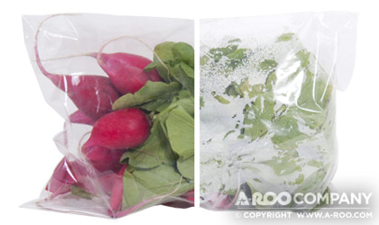 Herb Sleeve package with anti-fog coating compared to a package without anti-fog coating