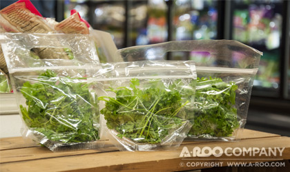 Clear Pouch Type Bags with Fresh Cut Herbs in store