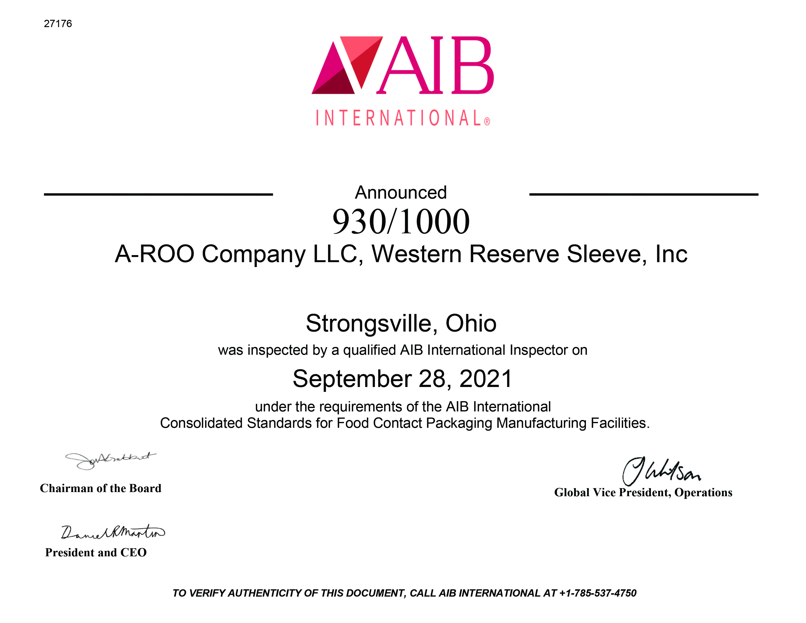 Food Safety Audit AIB International